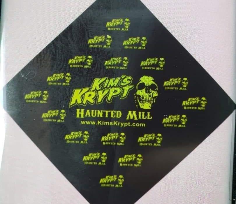 Krypt bandanna green skull logo